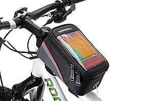Lohai® Ciclismo | ROSWHEEL Bicicletta borsa telaio della bicicletta, sacchetto top tubo, in bicicletta titolare fronte tubo sacchetto del telefono con schermo Super Clear PVC per il iphone 6, Samsung S3 I9300 e altri smart phone con schermo fino a 4,8 pollici (1.2L) - rosso & nero, 4.8 pollici