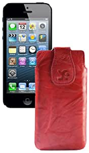 Original Suncase Echt Ledertasche für Apple iPhone 5 / 5S /5C wash-rot