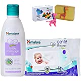 Himalaya Herbals Baby Massage Oil (100ml)+Himalaya Herbals Gentle Baby Wipes (72 Sheets) With Happy Baby Luxurious Kids Soap With Toy (100gm)
