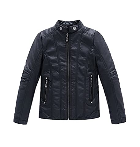 YoungSoul Jungen Bikerjacke aus Kunstleder Frühjahr & Herbst Kinder Kragen Motorrad Lederimitat Mantel Gesteppt Schwarz Etikettengröße 160cm