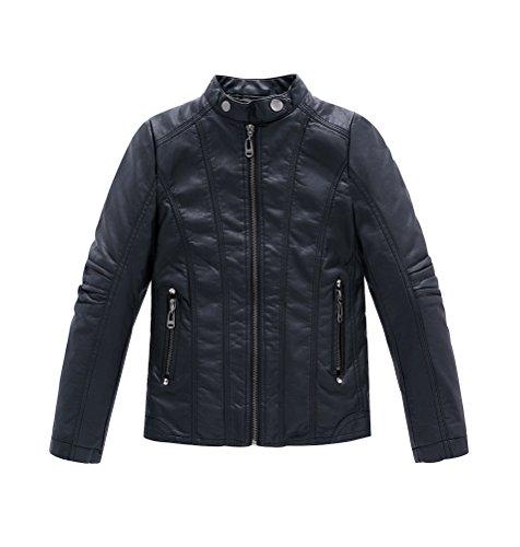 YoungSoul Jungen Bikerjacke aus Kunstleder Frühjahr & Herbst Kinder Kragen Motorrad Lederimitat Mantel Gesteppt Schwarz Etikettengröße 130cm