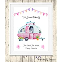 Personalised Retro Caravan Family Watercolour Premium Print Picture Gift A5, A4 & Framed Options - Vintage Camper Touring Van - Choose The Style & Colour For Your Custom Print