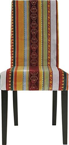 Kare Design Stuhl Econo Very British, Rot-Gelb, Polsterstuhl Esszimmer, bunter, Farbiger Stoffbezug, Retro Essstuhl aus schwarzem Buchenholz, (H/B/T) 99x49x58cm, buche
