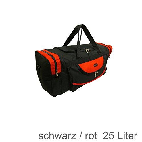 Reistasche / Sportttasche, 25 • 40 • 65 • 80 Liter Volumen ROT SCHWARZ (Rot-schwarz 25 Liter Volumen) Rot-schwarz 25 Liter Volumen