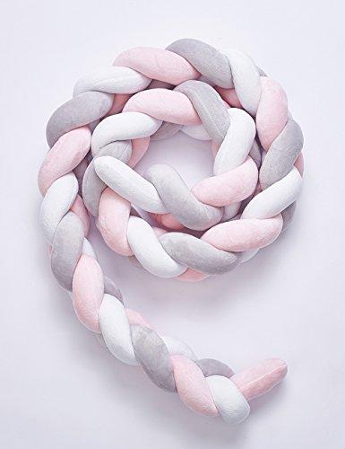 Kinderbett Knotenkissen Bettumrandung Stoßstange Baby Nestchen Weben Bettumrandung Kantenschutz Kopfschutz 1,5m/2m (2m, Pink-Weiß-Grau)