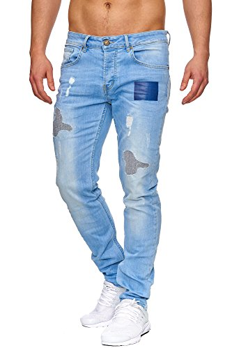 TAZZIO Slim Fit Herren Destroyed Look Stretch Jeans Hose Denim J-1009 Blau 32/32