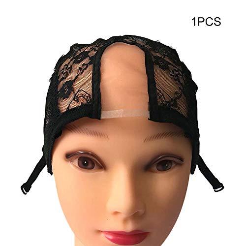 Veryeah 1/2/5 Stück Perücke Cap Lace Net mit verstellbaren Trägern Stretchy Mesh Perücke Caps für die Herstellung von Perücken