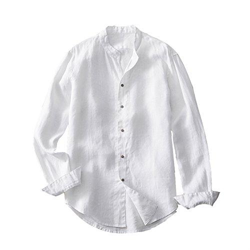 Insun uomo camicia manica lunga con colletto alla coreana primavera estate camicie da spiaggia in lino bianco it 48
