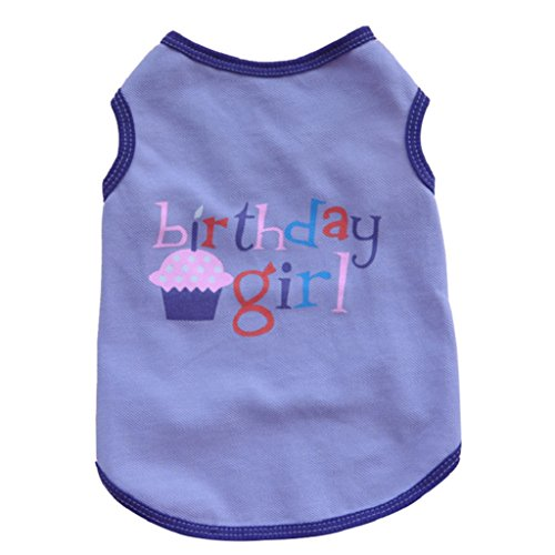 aaa226Lovely Pet Hund Kleidung Geburtstag Junge Mädchen Muster Ärmellos T-Shirt (Cupcake Kostüm Für Hunde)