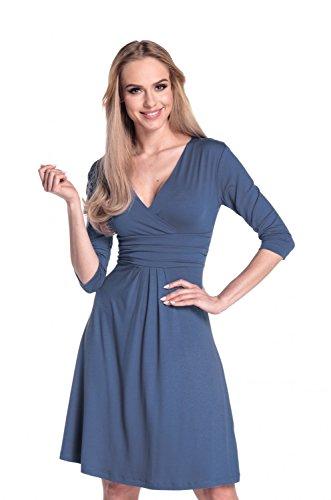 Glamour Empire Donna Vestito Svasato Piegoline Scollo V Portafoglio. 282A Blu Grigio