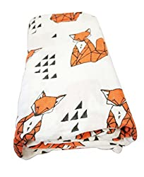 Miracle Baby Bamboo Muslin Swaddle Blanket, 120 X 120 Cm, Orange Fox