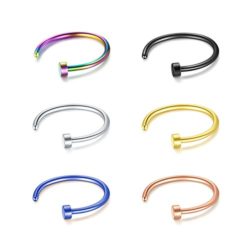 fake piercings lippe JFORYOU 22G 8mm 6 Stück Nasen Ring Fake Nasenpiercing Hoop Ohrringe Fake Lippen Ring Helix Ohrring 6 Verschiedene Farben