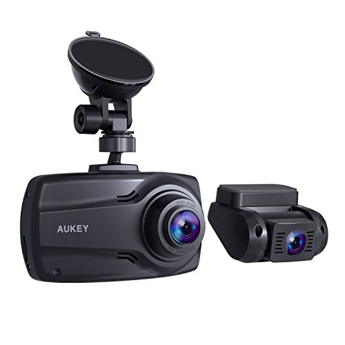 AUKEY - Cámara Doble para Coche de 1080p, Pantalla DE 2,7 Pulgadas, cámara Delantera y Trasera Full HD, con Objetivo Gran Angular de 170° y 6 carriles, G-Sensor y Cargador de Dos Puertos