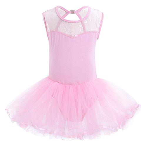 Freebily Tutu Enfant Fille Robe Danse Salsa Latine Dos Du Fille Justaucorps Gym Ballet Classique Costume Scène Performance 3-14 Ans