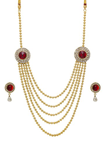 Bindhani® Traditional Gold Plated Ethnic Long Rani Har (Haar) Red Necklace Earrings Set For Women  available at amazon for Rs.443