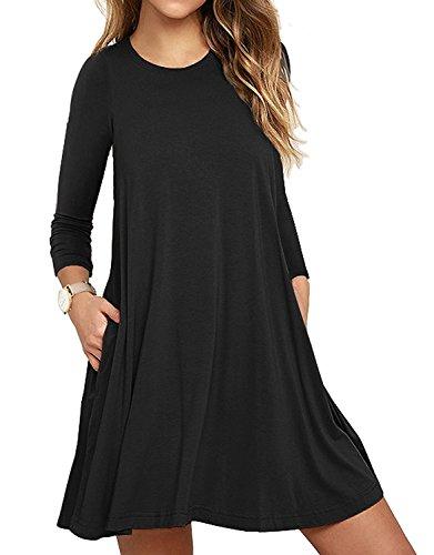 LILBETTER Frauen Langarm Casual Loose Fit T-Shirt Tunika Kleid Swing Kleid (Schwarz XL)