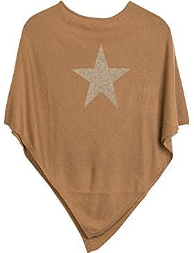 styleBREAKER Suave Poncho de Punto Fino con Estrella Brillante Estampada, Cuello Redondo, Señora 08010028