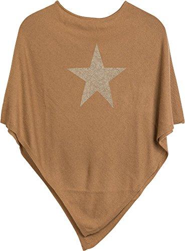 Kostüm Übergröße Camel - styleBREAKER weicher Feinstrick Poncho mit aufgedrucktem Glitzer-Stern, Rundhals, Damen 08010028, Farbe:Camel