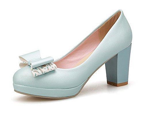 AgooLar Damen Weiches Material Ziehen Auf Rund Zehe Hoher Absatz Rein Pumps Schuhe Blau