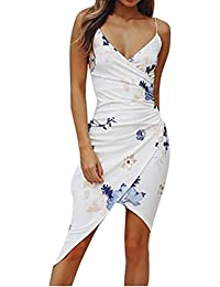 Robe Longue Femme Ete Boheme Plage Printemps Robe Chic Retro V-Neck  Printing Fesses Sans 22f5512004f