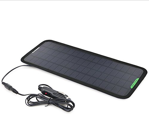Preisvergleich Produktbild 18 V 5 W Tragbares Solar KFZ-Ladegerät Solar Betreuer Ladekabel für Auto Automobil Motorrad Traktor Boot Batterien