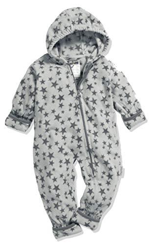 Playshoes Unisex Baby Fleece-Overall Sterne Schneeanzug, Grau (Grau 33), 80