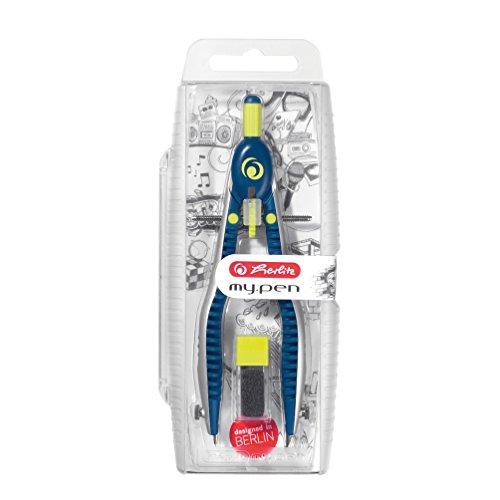 Herlitz 11122330 Schnellverstellzirkel my.pen blau/lemon mit Zusatzminen und Anspitzmöglichkeit