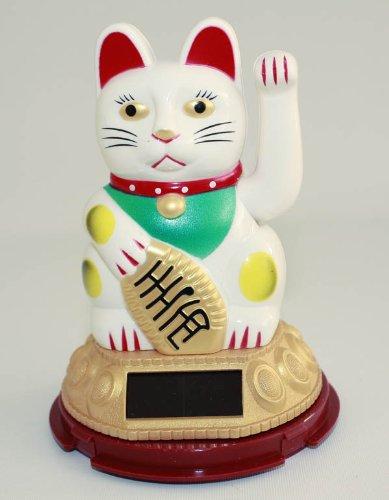 HAAC Solar Winkekatze Katze GLÜCKSKATZE Glücksbringer 13 cm Farbe weiss / rot