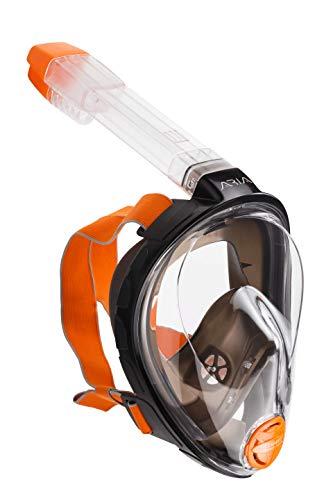 OCEAN REEF ARIA Schnorchel Maske, Vollgesichts Maske für Scuba Diving 180° Sichtfeld, müheloses Atmen, Anti Leak/Beschlag System und Dry Top, Schwarz Farbe, Small Größe