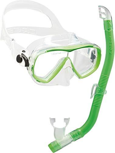 Cressi Set Estrella VIP Jr Kit de Snorkeling, Unisex niños, Lime, Uni