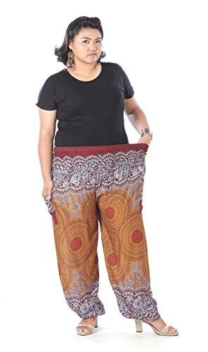 CandyHusky -  Pantaloni  - Donna Floral Mandala Brown