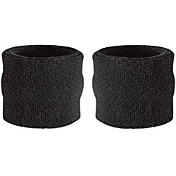Suddora - Muñequeras para niños, muñequeras de tejido rizado de algodón atléticas para deportes (par)., negro