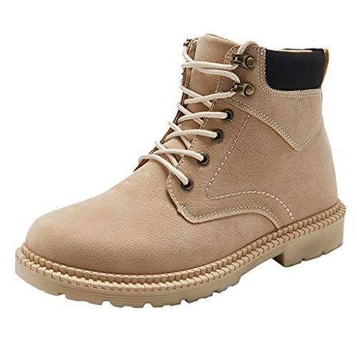 Yourgod Autumn Winter Mens Running Elegant Low Heeled Warm Military Pure Color Suede Boots Non Slip Motorbike Lace up Outdoors Work Comfortable Shoes