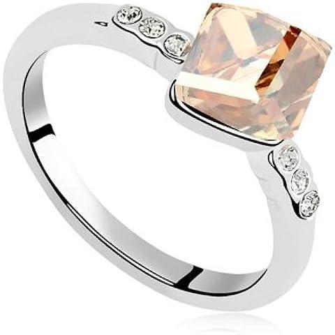Anello con cristalli, a forma di cubo, colore nuovo elemento Swarovski-Topaz colorado, taglia 52 mm