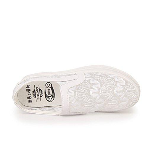 Sommer Atmungsaktive Damen Stickerei Runde Zehen Slip On Kurzschaft Beiläufige Schnürsenkel Dicke Sohle Sport Turnschuhe Sneakers Weiß