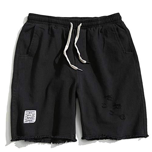 Feidaeu Männer Shorts Lose Rotten Edge Edging Distressed Pants Sommer Beiläufige Straight Cotton Cargo Pants -