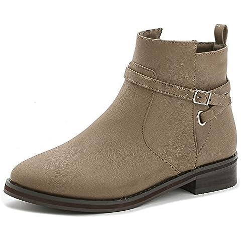 Europa invierno botas zapatos a mujer Bota plana Martin surge más el tubo corto de terciopelo y botas planas nude , khaki ,