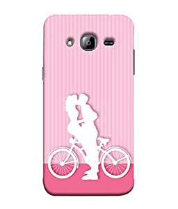 Fuson Designer Back Case Cover for Samsung Galaxy J3 (6) 2016 :: Samsung Galaxy J3 2016 Duos :: Samsung Galaxy J3 2016 J320F J320A J320P J3109 J320M J320Y (Cycle Bicycle Kissing Kiss Hug )
