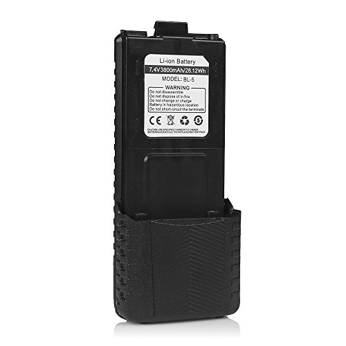BaoFeng BL-5 7.4V 3800mAh Large Capacity Battery Pack for BaoFeng DM-5R DMR Digital Radio, UV-5R/ UV-5RTP/ UV-5RA/ UV-5RE/ UV-5R PLUS/ UV-5R+/ BF-F8HP/ BF-F9/ BF-F9 V2+ HP Two-Way Radio Walkie Talkie Transceiver (Radio Baofeng)