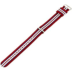 Daniel Wellington Exeter Silver Men's Multicolour Nylon Buckle Watch Strap with Pin of 20cm 0412DW