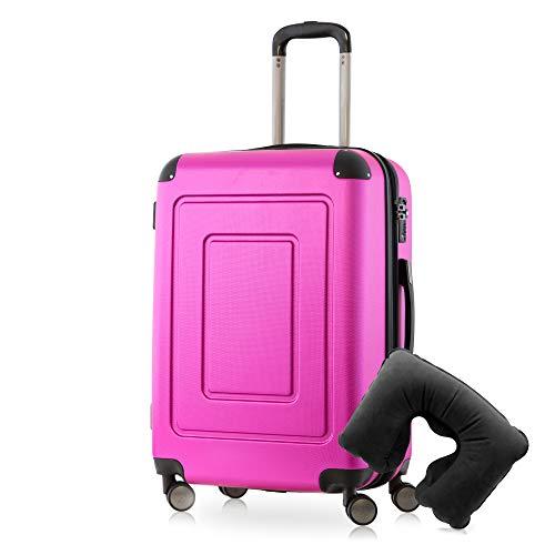 Happy Trolley - Lugano Hartschalen-Koffer Koffer Trolley Rollkoffer Reisekoffer Lugano, sehr leicht, TSA, 66 cm, 78L Pink +Nackenkissen