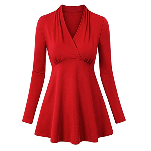 VENMO Damen Langarm V-Ausschnitt geraffte Seitenfalte gebogene Saum Tunika Tops Kleid Hemdkleid Button Chiffon Langarm Slim Casual Blusenkleid Minikleid Bluse Tops Jumper Shirt Dress (Sexy Red, XL) (Seiden-chiffon-kleid Geraffte)