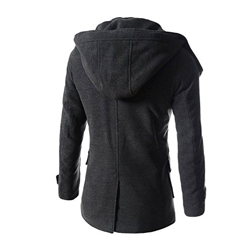 SMITHROAD Herren lange Jacke Mantel Trenchcoat Herbst Mode Schwarz Grau Khaki Grau