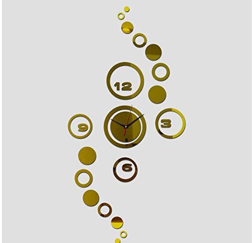 3D Diy Wandaufkleber Dekoration Wohnzimmer Uhren Moderne Möbel Uhr Acryl Spiegel Aufkleber Muster Gold - Möbel Uhr