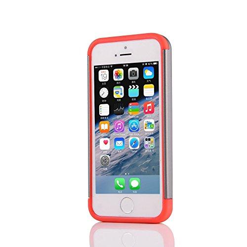 UKDANDANWEI Apple iPhone SE Souple Flexible TPU Coque + Dur PC Case étui 2 in 1 Dual Layer Defender Armor Slim Frame Protecteur Back Cover Bumper Antichoc et Anti-rayures et Anti Dérapant für Apple iP Rouge