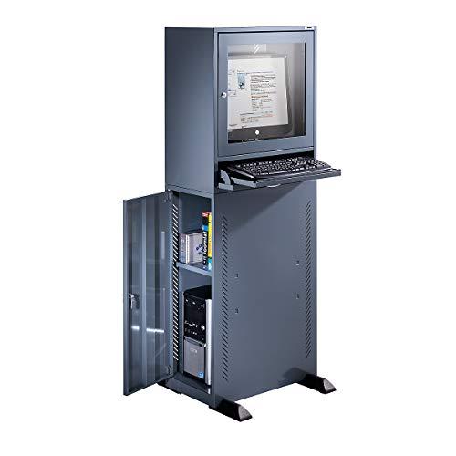 QUIPO Computerschrank - Standardausführung - blaugrau - Computerschrank Computerständer EDV-Möbel EDV-Schrank LAN-Schrank PC-Schrank PC-Station Workstation