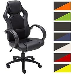 CLP Silla de oficina FIRE. Silla de escritorio con altura regulable 49 - 59 cm. Silla Gaming con diseño deportivo y asiento giratorio 360°. el tapizado de la silla Gaming Fire es de cuero negro