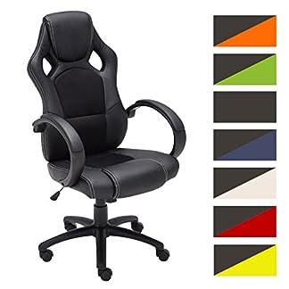 CLP Silla de oficina FIRE. Silla de escritorio con altura regulable 49 – 59 cm. Silla Gaming con diseño deportivo y asiento giratorio 360°. el tapizado de la silla Gaming Fire es de cuero