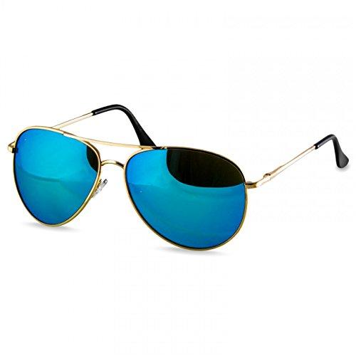 Caspar SG013 klassische Unisex Retro Piloten Sonnenbrille, Farbe:gold/hellblau verspiegelt