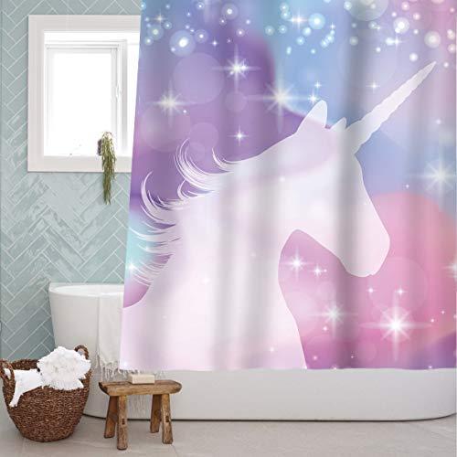 Sunlit Mágico colorido Unicornio Tela Cortina de ducha Mito legendario con estrellas Impresión de ensueño para niños y niñas Baño y decoración de fiesta 180x180cm
